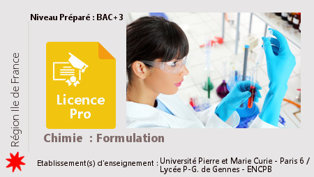 Licence Pro Chimie Formulation