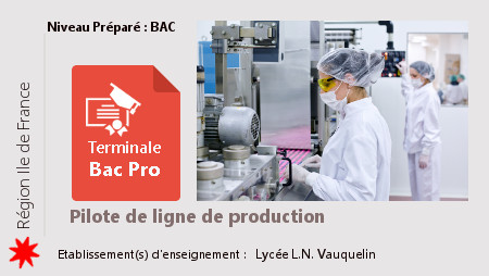 Terminale BAC Pro Pilote de Ligne de Production