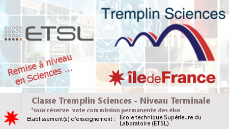 Dispositif d'accès à l'apprentissage Tremplin Sciences